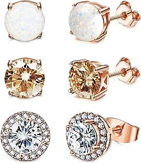 Stud Earrings for Women 18K White Gold Rose Plated CZ...