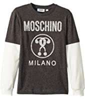 Moschino Kids - Logo Graphic T-Shirt w/ Contrast Sleeves (Big Kids)