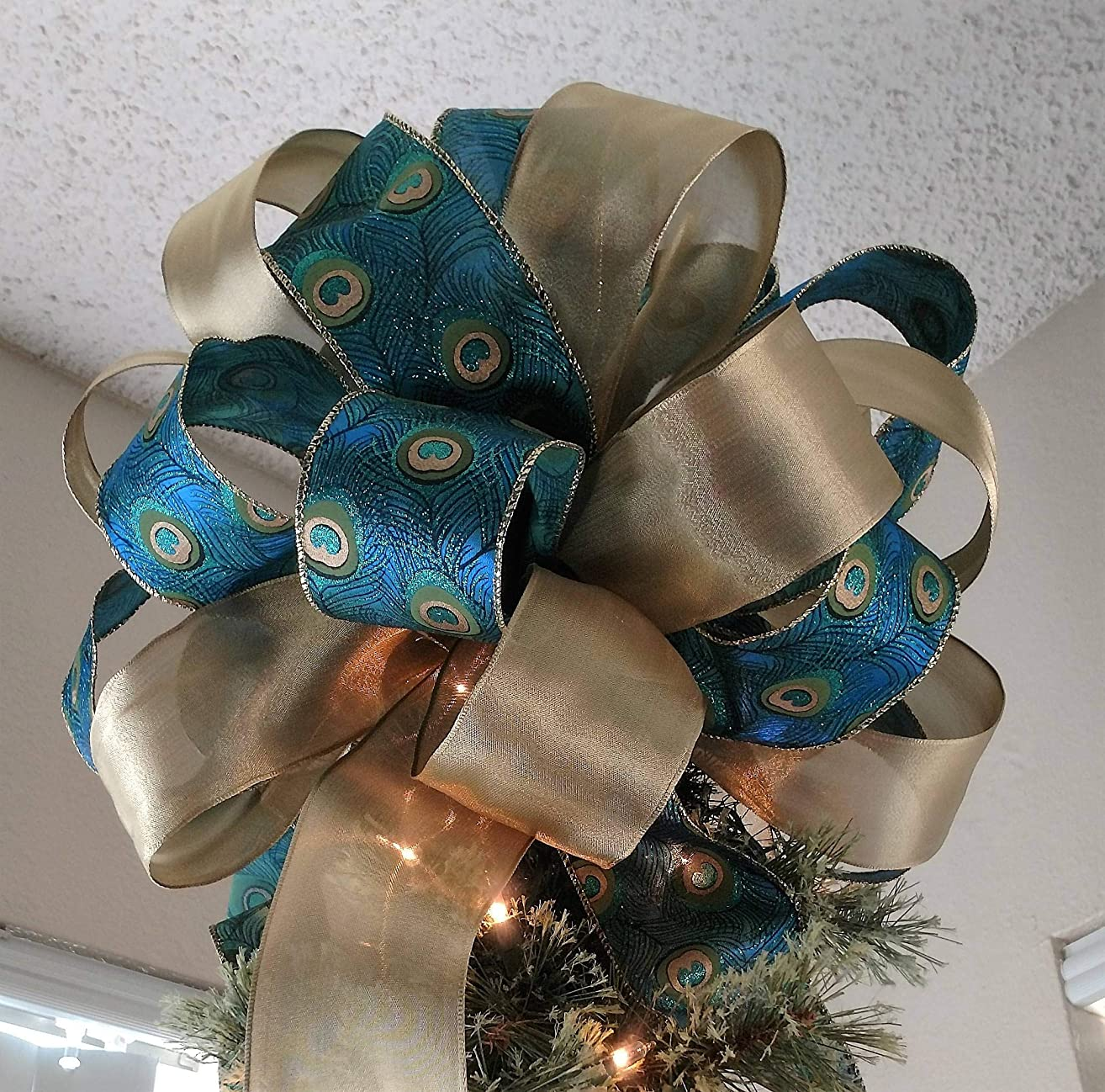 Christmas Tree Topper - Peacock Christmas Tree Topper Bow - Holiday Decoration Bow ***Last One and Ready To Ship***