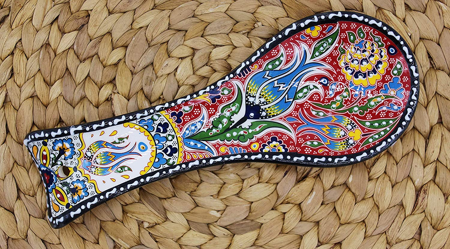 HeraCraft Hand Painted Design Turkish Ceramic Spoon Rest Handcrafted Pinch Multicolor Spoon Rest for kitchen Counter Colorful Kitchen Ceramic Spoon Holder black