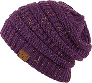 Hatsandscarf CC Exclusives Unisex Ribbed Confetti Knit Beanie (HAT-33) (Purple)