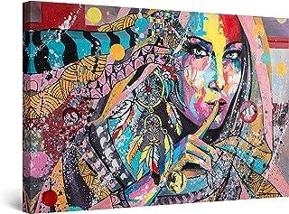 Startonight Cuadro Moderno en Lienzo Pintura Encantadora Colección Colorida Silencio Mujeres - Pintura Abstracta para Salon Decoración Grande 80 x 120 cm