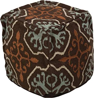 Surya Decorative Pouf, 18 by 18 by 18-Inch, Brown