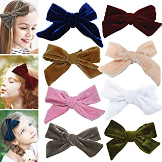 Velvet bows hair clips for girls - toddler hair accessories barrettes - bow alligator clip for Teens Kids Toddlers (Mixed Colors)