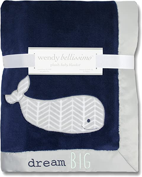 Wendy Bellissimo Super Soft Plush Baby Blanket 30x40 Whale Baby Blanket From The Landon Collection In Blue Grey