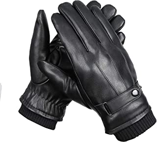 Men's Winter Black Leather Touchscreen Gloves Driving Texting Faux Leather Soft Fleece Lined Gloves