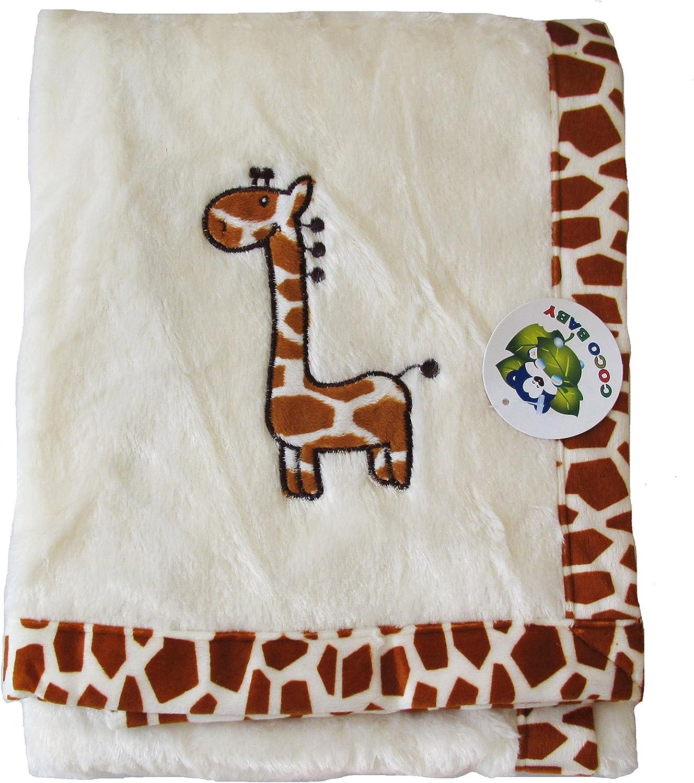 Amazon Com Plush Beige 2 Ply Unisex Baby Blanket Giraffe Embroidery Design 30 X40 Home Kitchen