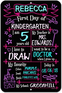 Honey Dew Gifts Large First Day of School Princess Chalkboard Style Photo Prop Metal Sign 12 x 18 inch - Reusable Easy Clean Back to School, Customizable with Liquid Chalk Markers (Not Included)