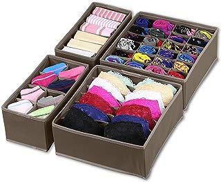 Simple Houseware Closet Underwear Organizer Drawer Divider 4 Set, Brown