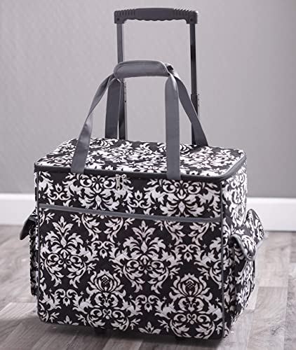 new arrival Sewing online sale Accessories Rolling Sewing Machine Tote with wholesale 6 Storage Pockets - Damask,LARGE online sale