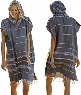 Lost & Leisure Surf Poncho Changing Towel - Change in Soft Cotton Comfort - Hooded Surf Changing Poncho for Adults - Pool, Beach, Wetsuit Changing Towel Poncho - Fun Retro Fringe (Small, Black Sand)