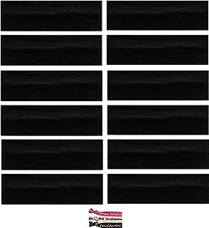 Kenz Laurenz Soft and Stretchy Elastic Cotton Headbands, (Pack of 12) – Black