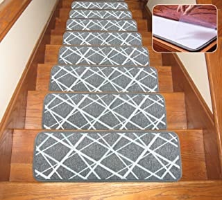 Seloom Dog Assist Gray Stair Treads Carpet Non-Slip Washable with Skid Resistant Rubber Backing Specialized for Indoor Wooden Steps (Set of 13), 26