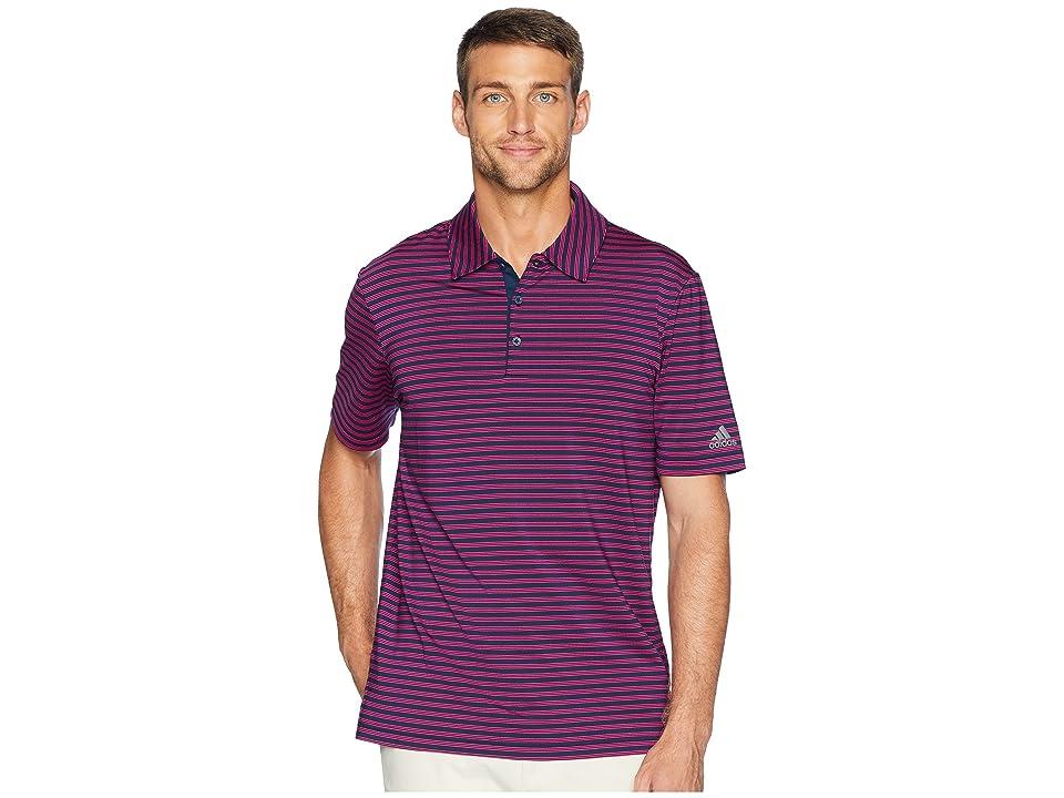 adidas Golf Ultimate 2-Color Stripe Polo (Collegiate Navy/Real Magenta) Men