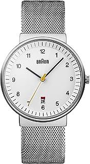Braun Men's Quartz Watch with White Dial Analogue Display and Silver Mesh Bracelet BN0032BKBKMHG