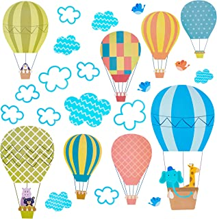 Hot Air Balloon Wall Decals,Animal and Cloud Wall Stickers Wall Decor for Baby Nursery, Kid Bedroom, Toddlers'Bathroom, Classroom, Window, Ceiling, Removable Mural Stickers Stick Sky Decor That Clings