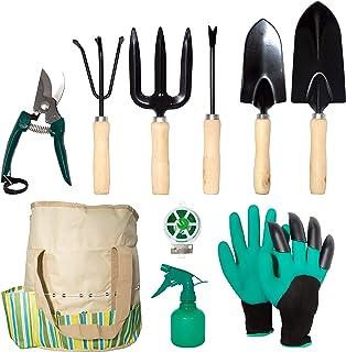 lyndeluxe Herramienta de jardín 10Pcs, Kit de jardinería con Bolsa de Almacenamiento, Herramientas de plantación Masculina...
