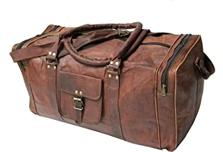 23 Inch Mens Retro Style Carry on Luggage Flap Duffel Leather Duffel Bag made of Real Goat hide