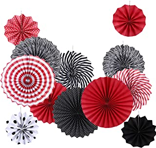 CoscosX 12 Pcs Hanging Paper Fans Decorations Set,Black Red Round Tissue Fans for Wedding Birthday Party Graduation Halloween Day Events Accessories Set …