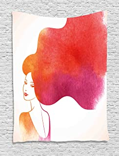 Ambesonne Modern Decor Tapestry by, Ombre Sexy Woman with Fog like Sunset Colored Hair Art Print, Wall Hanging for Bedroom Living Room Dorm, 40WX60L Inches, Dark Coral Fuchsia Coconut