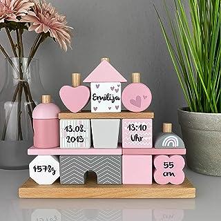Kidslino Steckspiel Haus rosa I Personalisierbares Geschenk zur Geburt Mädchen I Handmade Holzspielzeug I Personalisierte ...