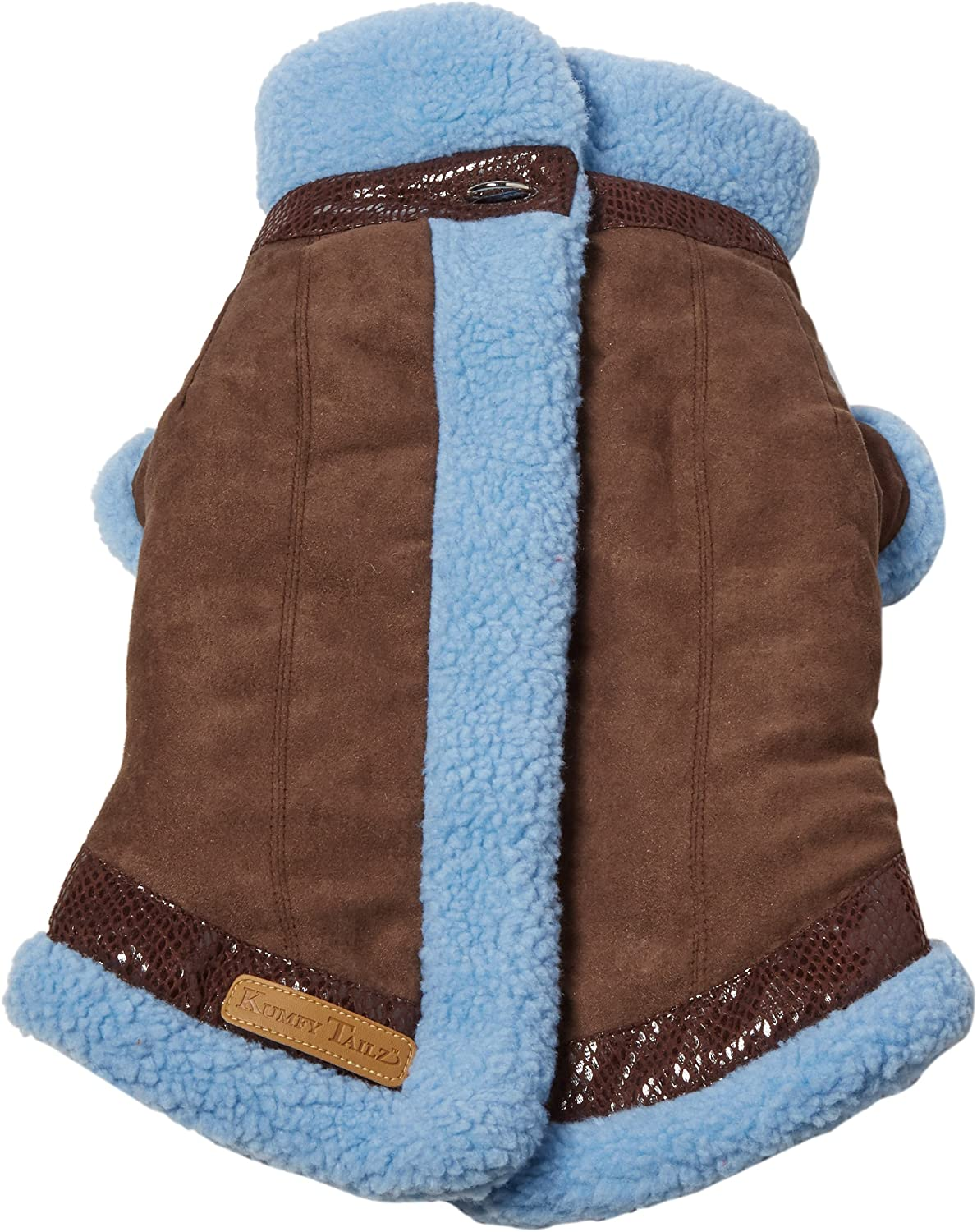 Kumfy Tailz Warming Winter Pet Coat, Small, Brown with bluee Lining