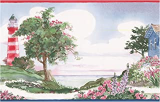 Wall Border - Lighthouse Flowers Ranch on Beach Retro Wallpaper Border Paint by Design, Prepasted Roll 15 ft. x 7 in.