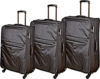 Track Luggage Trolley Bag for Unisex, Black, B134-3PC