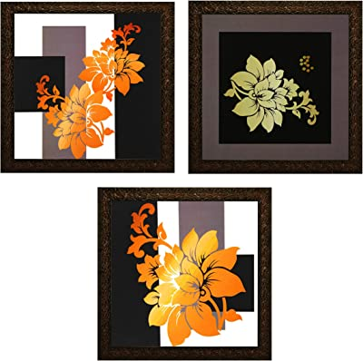 INDIANARA 3 PIECE SET OF FRAMED WALL HANGING DECOR MODERN ART(2909) PRINTS 8.7 INCH X 8.7 INCH WITHOUT GLASS