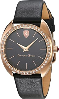 Ferrari Donna  Black Dial Leather Strap Ladies Watches 0820019