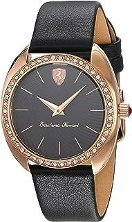Ferrari Donna Black Dial Leather Strap Ladies Watches 0820019