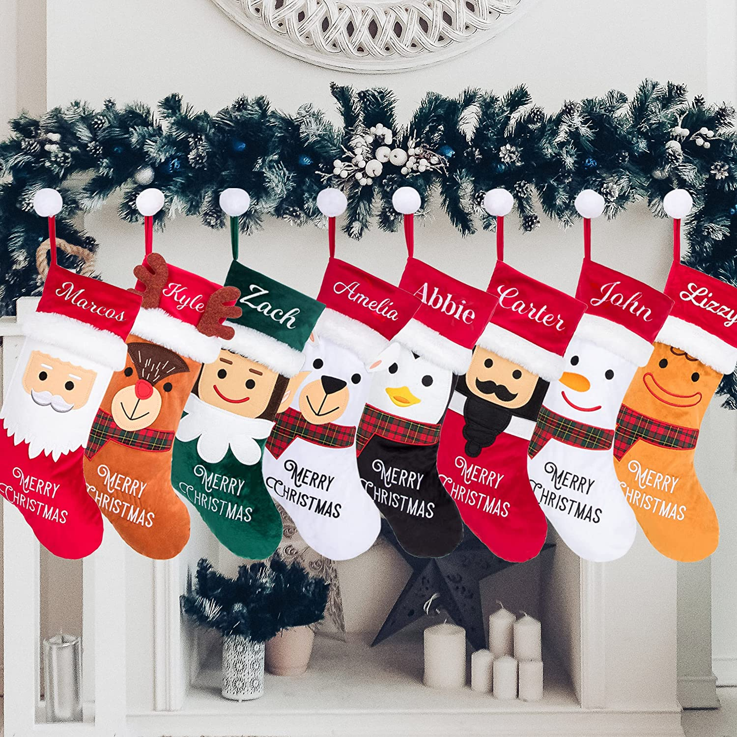 """Rorain Personalized Christmas Stockings 20.5"""" for Family Cheap SALE Start Seattle Mall Ta"""