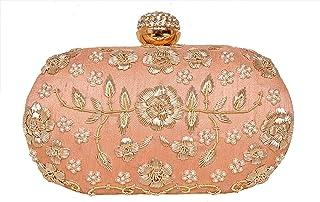 sugarcrush peach Diamond Frame Women's Embroidered clutch