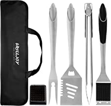 grilljoy 6PCS Heavy Duty BBQ Grill Tools Set. Extra Thick Stainless Steel Spatula, Fork, Tongs & Cleaning Brush. Complete Barbecue & Grilling Accessories Kit with Portable Bag. Dishwasher Safe.
