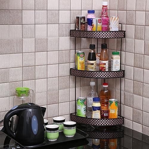Kurtzy Multipurpose Standing 3Tier Wall Corner Space Saving Storage Rack for Kitchen 31x21x58 Cms