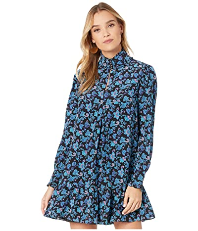 Nanette Lepore Paisley Silk Pintuck Dress (Turquoise Multi) Women