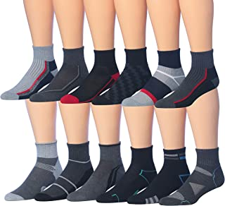 James Fiallo Men's 12 Pairs Athletic Sports Quarter Socks - Multicoloured - sock size 10-13 (Fits shoe size 6-12)