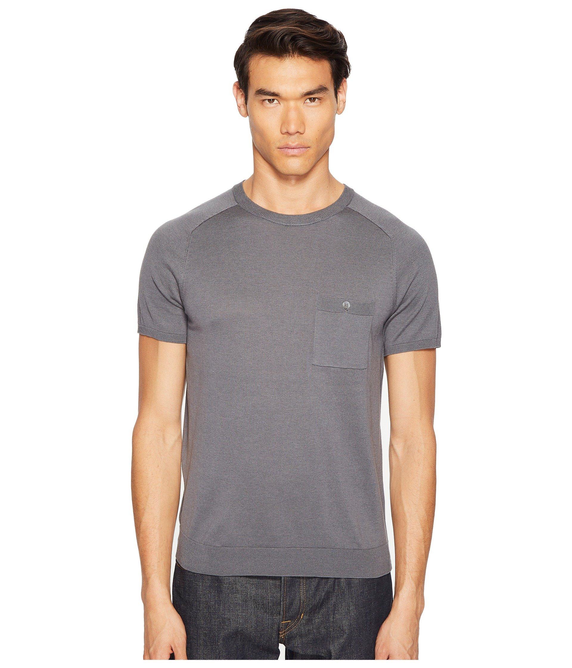 TODD SNYDER Cotton Silk T-Shirt Sweater, Grey