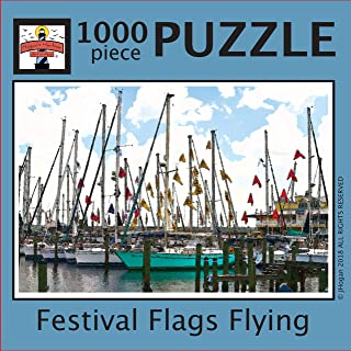 Hogan's Harbor Art Gallery Festival Flags Flying Color Jigsaw Puzzle for Adults (1000 Pieces)