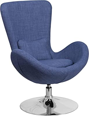 A Line Furniture Curved Wing Design Blue Fabric Upholstered Swivel Adjustable Living Room Accent Chair