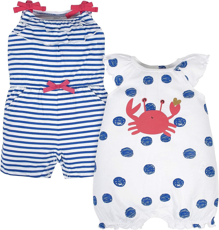 Blue Crab Gerber Baby Girls 2-Pack Rompers Newborn
