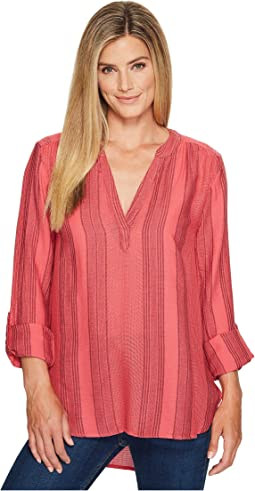 Taylor Texture Wide Waffle Stripe High-Low Tunic w/ Roll Sleeve
