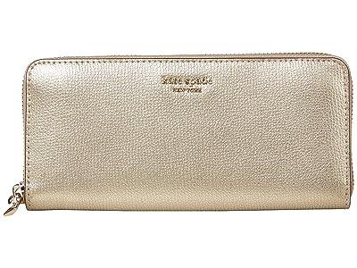 Kate Spade New York Margaux Slim Continental Wallet (Pale Gold) Checkbook Wallet
