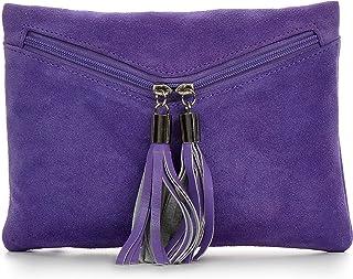 CNTMP - bolso para señora, clutches, clutch, bolsos de mano, bolsas de noche, bolsas de fiesta, bolsos de tendencia, gamuza, ante,flecos,bolso de cuero, 23 x 16, 5x1cm (l x an x a)