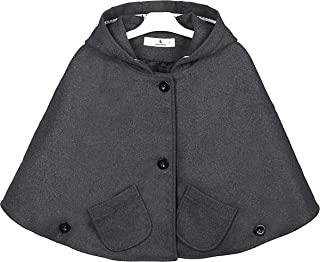 Everweekend Kids Girls Wool Blend Hoodie Capes Poncho Children Fall Winter Outwear