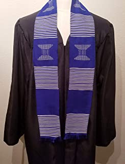 African Kente Cloth Stole Scarf - Blue with White (no stripe)