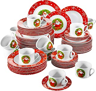 VEWEET, Série SANTACLAUS, Service de Table en Porcelaine Fête Noël, 60 Pièces pour 12 Personnes, Inclus Assiettes Plates, ...
