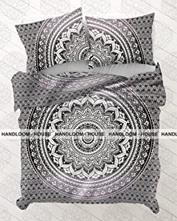 Indian Ombre Mandala Duvet Cover Cotton Queen Size Quilt Doona Cover Reversible by Handloom House