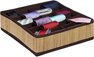 Relaxdays 10020568 Boîte à cravates de rangement pliable design bambou organiseur de tiroir sous-vêtements chaussettes 24 ...