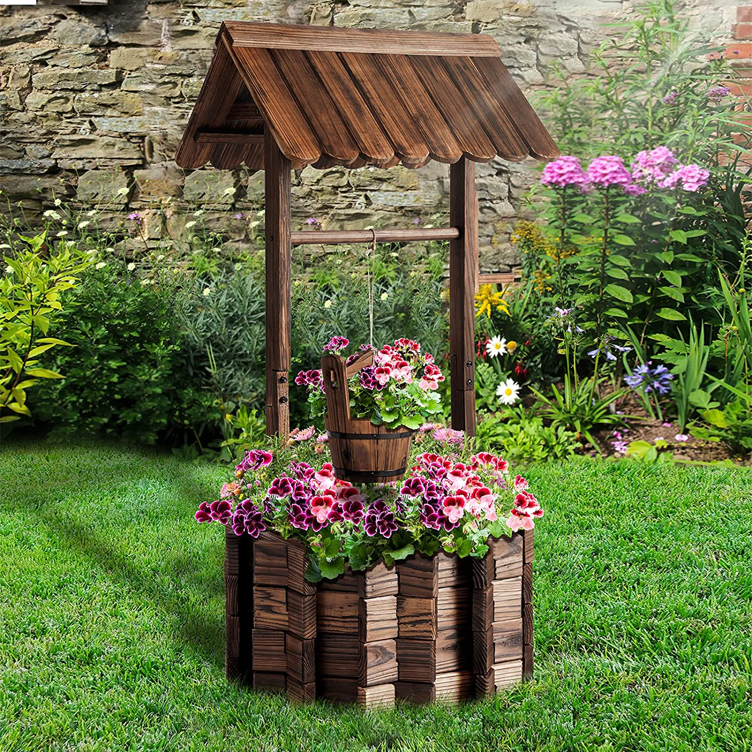 Aoxun Wooden Outlet SALE Wishing Well Planter with for Bucket Hanging Flower Max 85% OFF